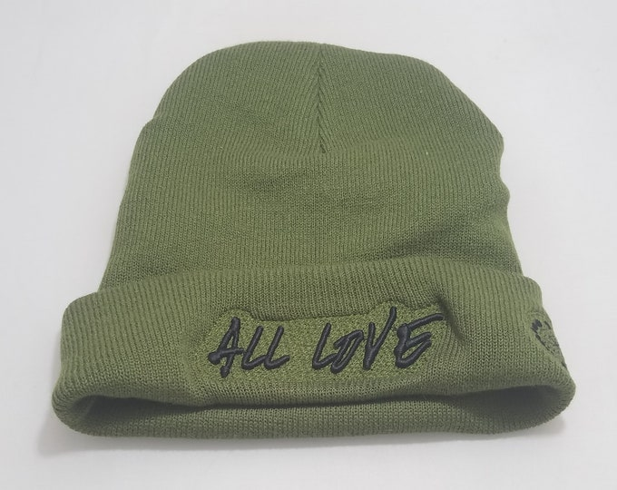Sock Hat - All Love (Black on Army Green)