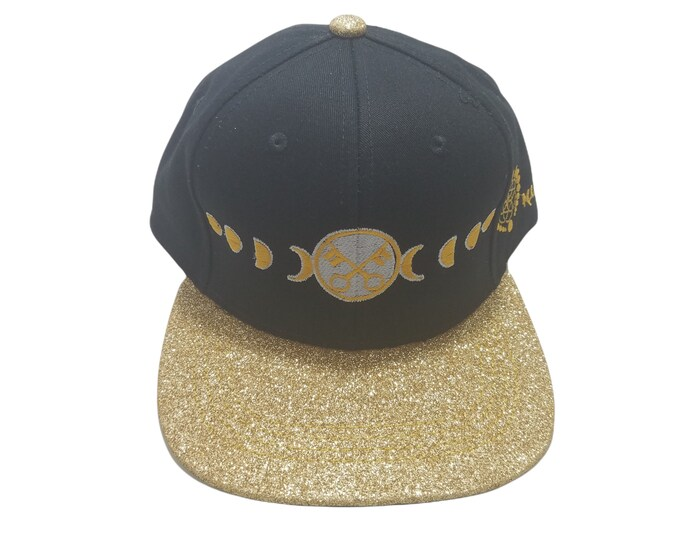 Snapback Flat-Brim Hat - Moon Phases (One-of-a-kind)