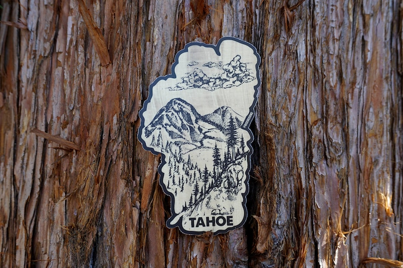 43f92db21 Lake Tahoe Sticker Mountains Forest and Clouds Wood Grain | Etsy