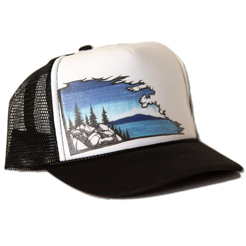 0a7ca2d3 Tahoe Cloudscape Lake Scene Trucker Hat RISE Designs   Etsy