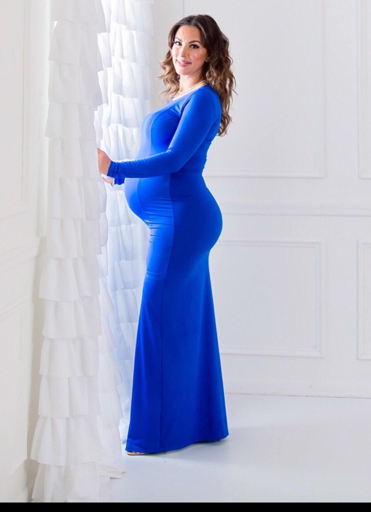 b0abfb7901e97e Vrouwen lange mouwen lange moederschap Maxi jurk   moederschap