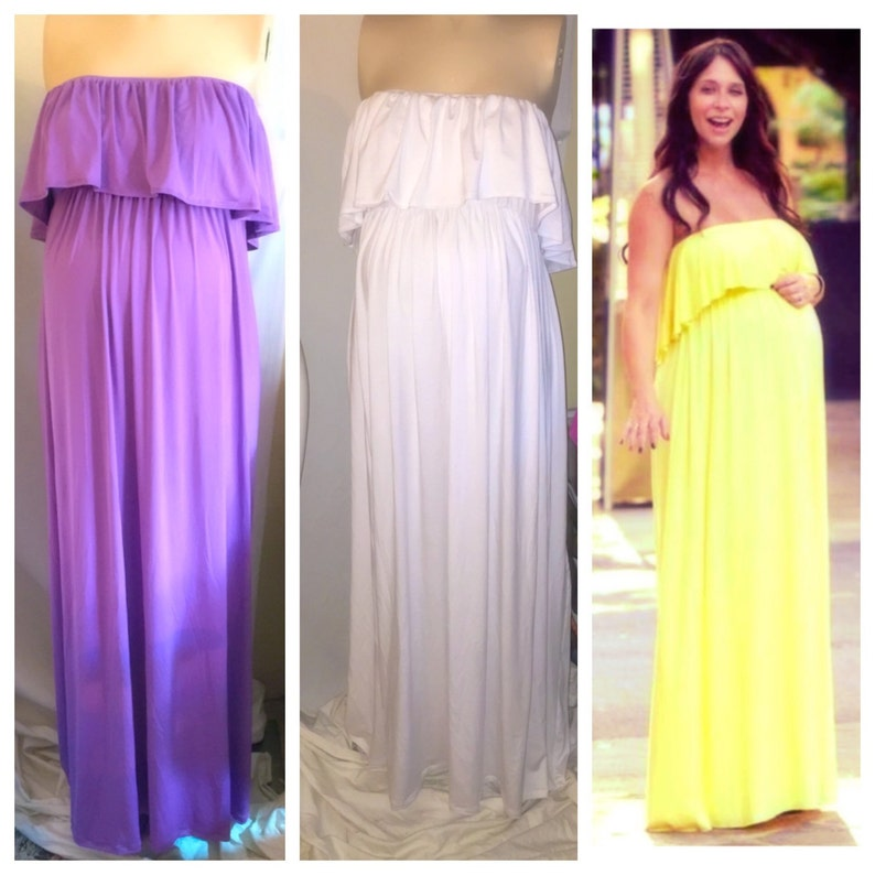 e425193ff5dfe Strapless ruffled top maternity maxi dress/ maternity dress/ | Etsy