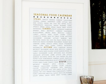 Seasonal Food Calendar in Gold Foil - gift for food lovers, sustainable living, kitchen art, seasonal food list, cooking