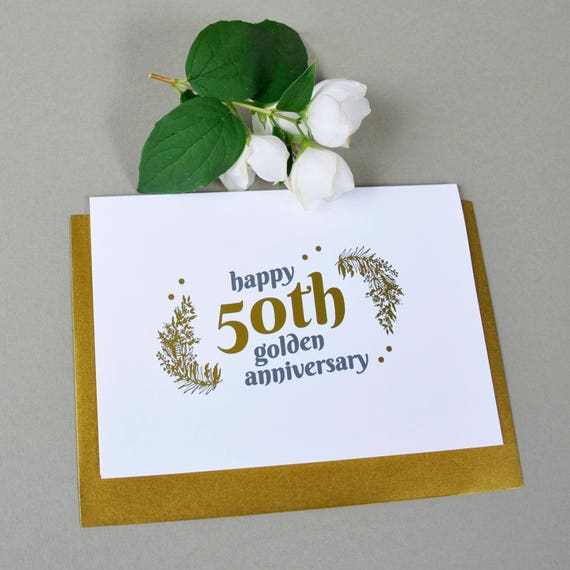 50th golden wedding anniversary gold foil card love card etsy