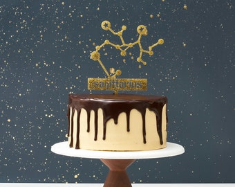 Zodiac Cake Toppers - Cake Toppers - Gold Glitter Cake Topper  - Birthday Toppers