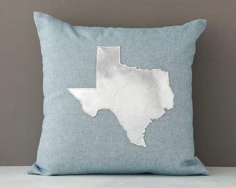 Texas throw pillow, Texas pillow, Silver Metallic Texas, Texas Gift, Gift for Her, Etsy, AHeirloom, Throw Pillow, Insert Included