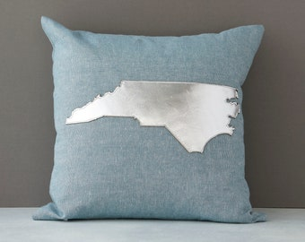 North Carolina throw pillow, NC pillow, Silver Metallic NC, NC Gift, Gift for Her, Etsy, AHeirloom, Throw Pillow, Insert Included