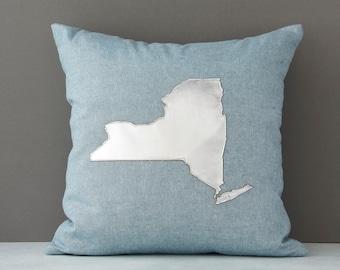New York throw pillow, New York pillow, Silver Metallic New York, New York Gift, Gift for Her, Etsy, AHeirloom, Throw Pillow