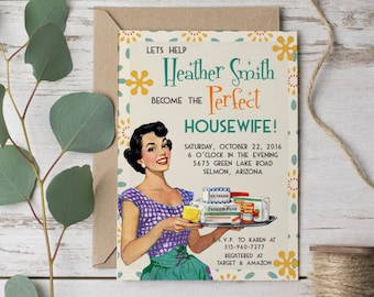 retro bridal shower invitation 1950s bridal shower party invitation printable house warming invitation retro invitation ret101