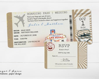 Las Vegas Wedding Invitations Etsy