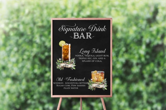 Wedding Signature Drinks sign, Printable Drink Sign, Wedding Bar Menu, Bar sign, Bar Menu Signature Cocktail Sign His and Hers Drink