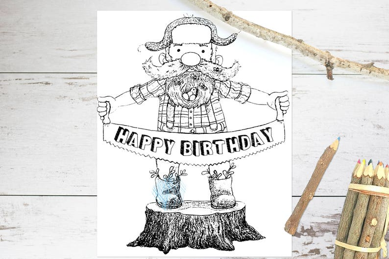 Lumberjack Coloring Page Lumberjack Birthday Party Activity Etsy