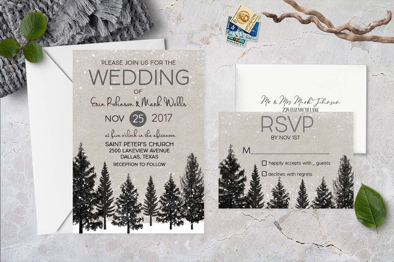 Rustic Wedding Invitation Printable Elegant Wedding Invite Woodland Snow Forest Wedding Invitation Winter Wedding Invitations