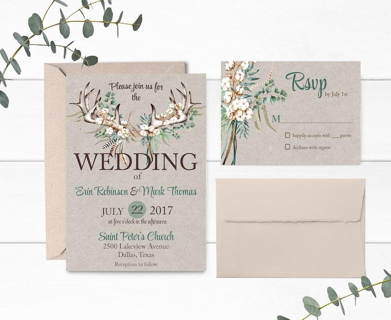 Boho Wedding Rustic Wedding Invitation Suite Boho Antlers Wedding Invitation Printable Cotton Wedding Invitations