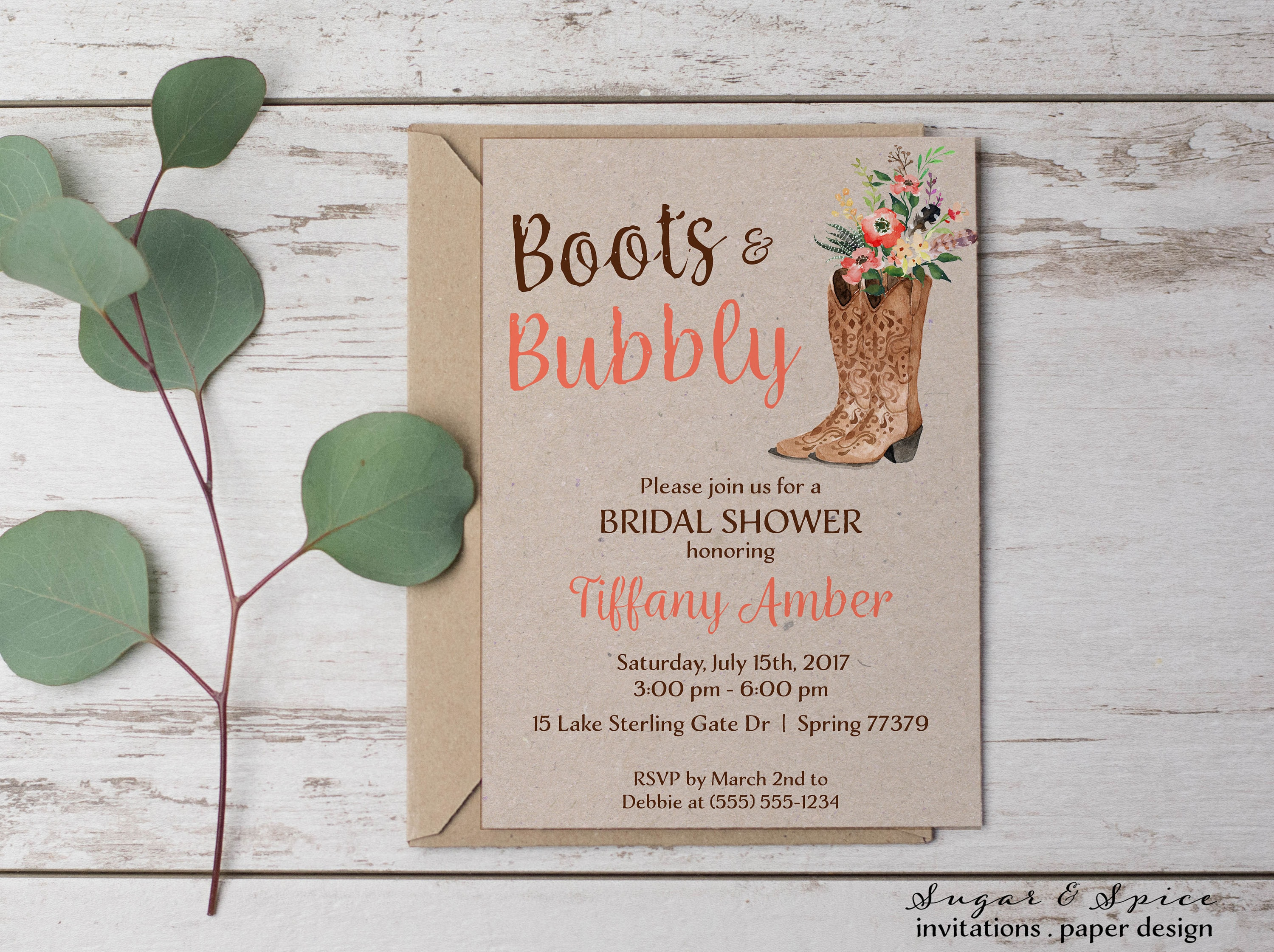 Boots Wedding Invitations: Western Rustic Bridal Shower Invitation Boots And Bubbly