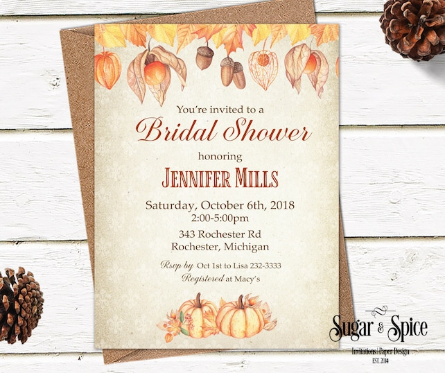 Rustic Bridal Shower Invitation, Fall Bridal Shower Invitation Printable, Wedding Shower Invitations Printable, Pumpkins, Acorns, Autumn