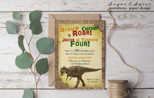 Dinosaur Birthday Invitation T Rex Kids Rustic Invitations For Boys Printable