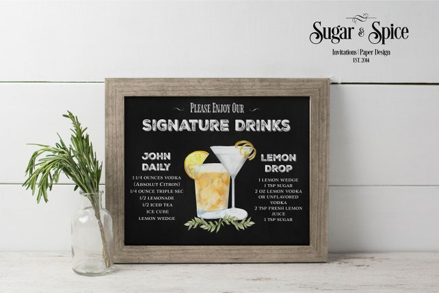 Wedding Signature Drinks Sign Printable, His and Hers Drink Sign, Custom Signature Drink Sign, Signature Cocktails, Cocktail Menu