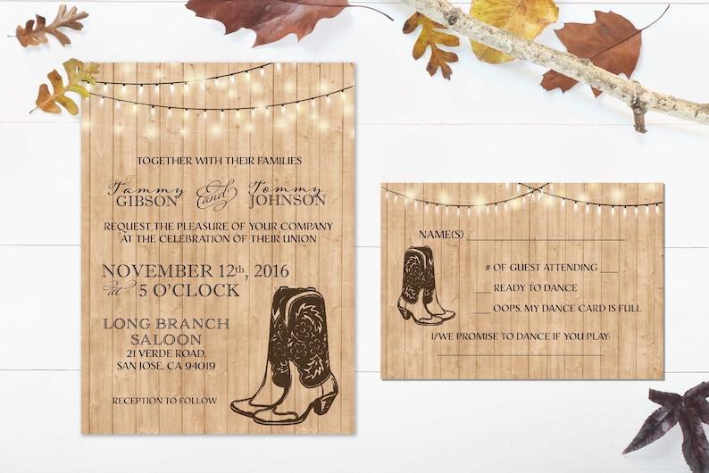 Rustic Wedding invitation Printable Cowboy Wedding Invite Hanging Lights Country Western Wedding Invitation Barn Wedding Invitation