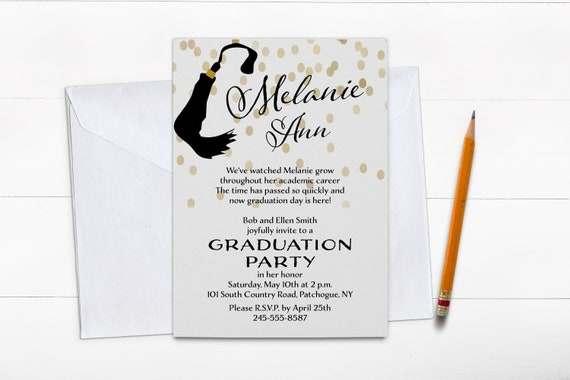 Graduation Invitation 2018, Graduation Party Invitation, Graduation Announcement, Graduation invitation tassel, Gold Glitter