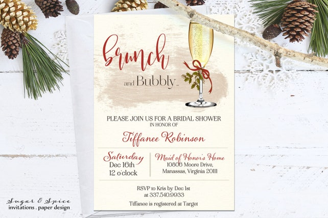 Christmas Bridal Shower Invitation Printable, Brunch and Bubbly Bridal Shower Invitations, Holiday Bridal Shower Invitations, Winter Shower