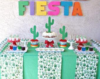 BOHO Party, BOHO Style, FIESTA, Cactus Table, Cactus Party, Cactus Decor, Cinco de Mayo, Cactus Fabric, Cactus, Table Runners, Green Party
