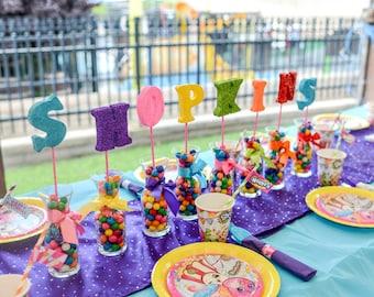 Shopkins Party, Candyland Party, Party Centerpieces, Party Decor, Foam Letters, Party Decorations, Styrofoam Letters, Shopkins, Girl Party