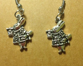 Alice in Wonderland White Rabbit Earrings Handmade Jewelry
