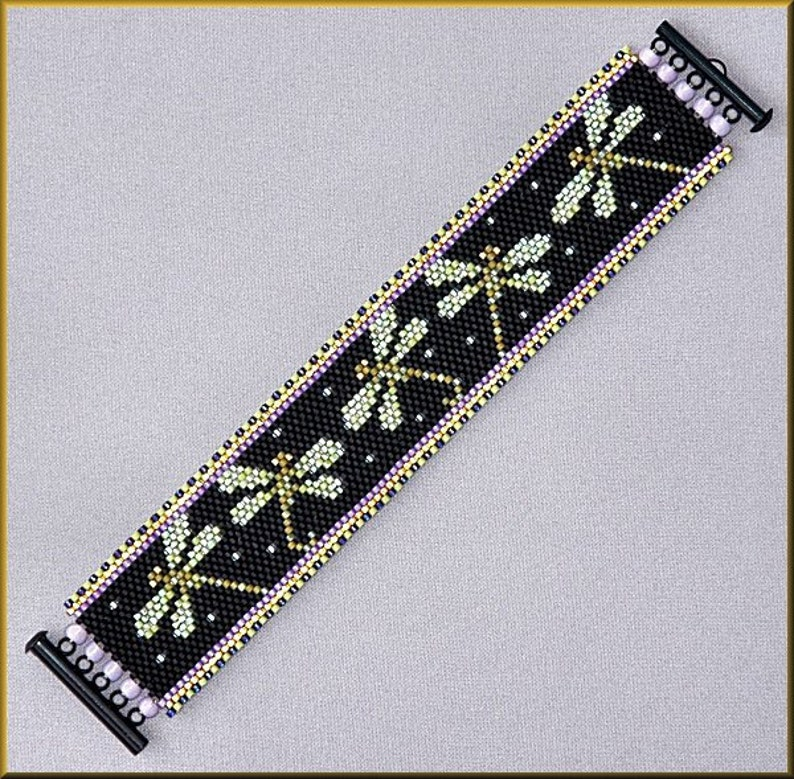 Dragonfly Sparkle   Even-Count Peyote Bracelet Pattern By image 0