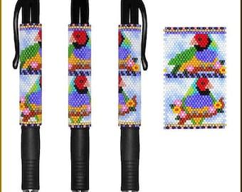 Peyote Bead Pattern (pen wrap/cover) Lady Gouldian by Kristy Zgoda
