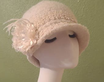 Ladies Knit Felted Cloche / 100% Wool