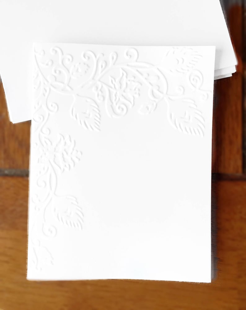 Embossed  Cards  Floral   Set of 12  Card Stock  A2 Envelopes  Craft Supplies  Scrapbooking