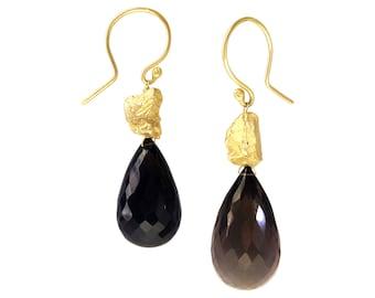 Boulder smoky quartz earrings