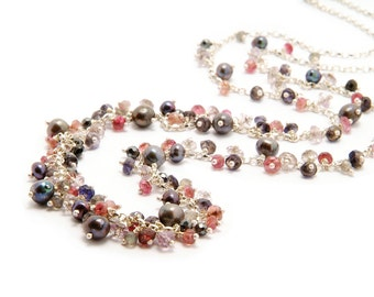 Cluster silver mixed gemstone necklace