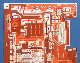 Commodore 64 (C64) screen print beetroot, raspberry, silver on sky blue art silkscreen circuit portrait retro computing