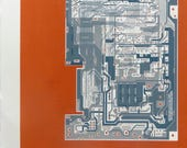 Commodore 64 (C64) screen print blue, grey, silver on red art silkscreen circuit portrait retro computing