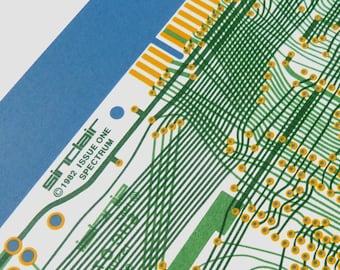 Sinclair ZX Spectrum Issue One screen print yellow greens and sky blue art silkscreen circuit portrait retro computing