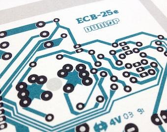 Dunlop Cry Baby guitar wah pedal blue and grey art silkscreen circuit portrait retro effects print