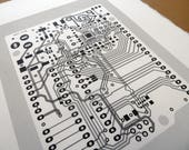 Arduino UNO circuit board screen print in monochrome greys and black - microcontroller silkscreen art