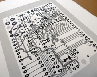 Arduino UNO circuit board screen print in monochrome greys and black - microcontroller silkscreen art