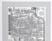 Sinclair ZX Spectrum Issue One screen print monochrome, greys art silkscreen circuit portrait retro computing