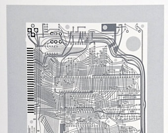Sinclair ZX Spectrum Issue One screen print monochrome, greys art silkscreen circuit portrait retro computing