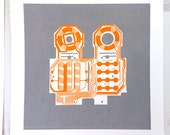 Mattel Intellivision controller screen print orange and grey art silkscreen circuit portrait retro console