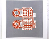 Mattel Intellivision controller screen print red and grey art silkscreen circuit portrait retro console
