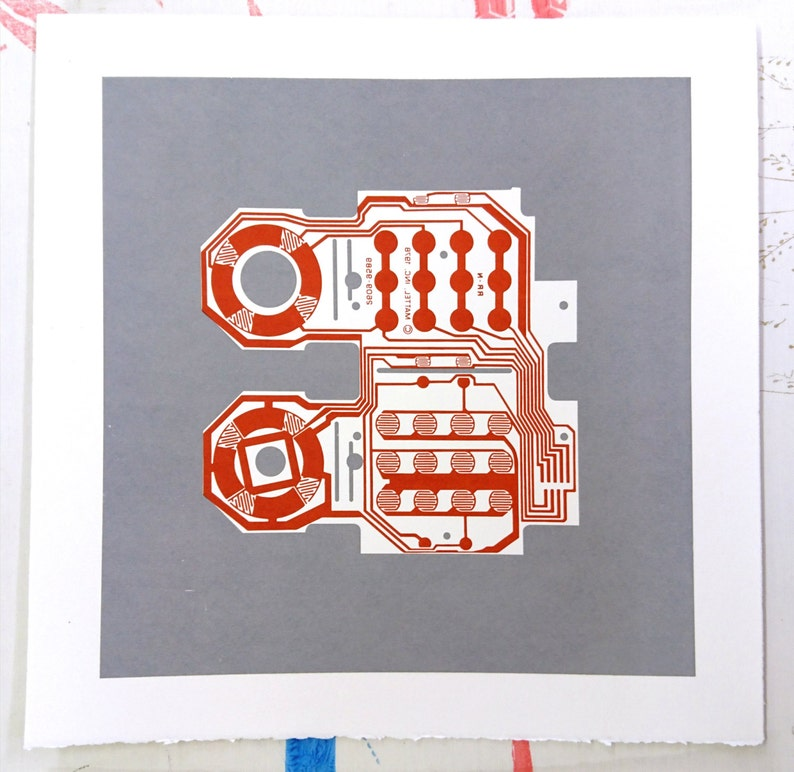 Mattel Intellivision controller screen print red and grey art image 0
