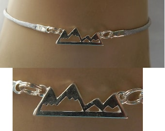 Silver Mountain Range Choker Necklace Handmade Adjustable NEW Fashion Ski Gray Accessories