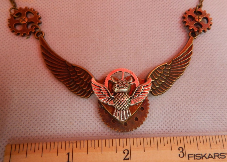 Gold Steampunk Necklace Handmade Necklace Steampunk Pendant Necklace Steampunk Owl Necklace Steampunk Jewelry Cosplay Jewelry Gears