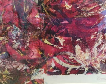 Red Now I Wonder, embroidery Art Textile , fully framed