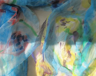 """FINAL Sale - RED Tulips"""" against Turquoise Blue Sky - Silk Chiffon Scarf -  different sizes can be Made to Order, yellow SOLD"""