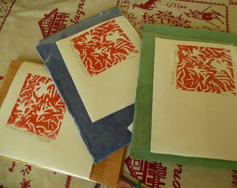 STUDIO  SALE - Red Original Design - Christmas Flower - Hand printed Lino cut on hand made paper with hand made paper for envelope